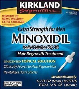 Kirkland Minoxidil 5% Extra Strength Men 6 Month Supply Hair Regrowth Solution