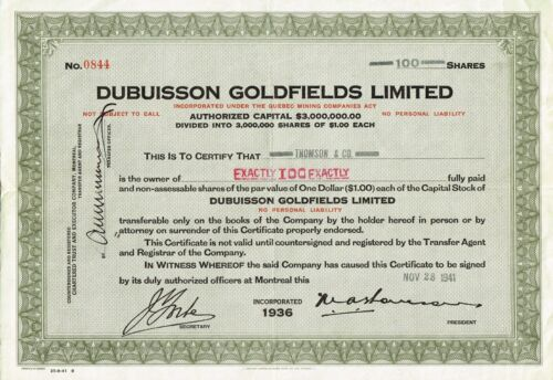 CANADA DUBUISSON GOLDFIELDS LTD stock certificate QUEBEC