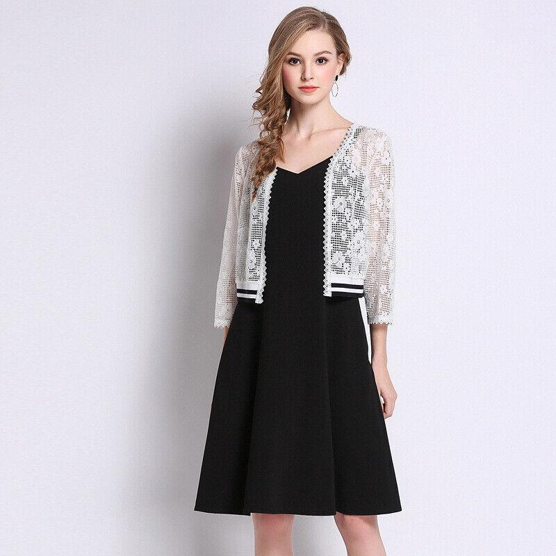Élégant kleid schwarz jacke weiß schlank hülle schaukel weich 4944
