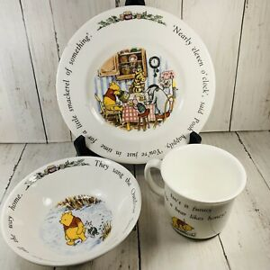 Royal-Doulton-Disney-Winnie-the-Pooh-Isn-t-It-Funnny-Plate-Saucer-amp-Cup-Set-Vtg