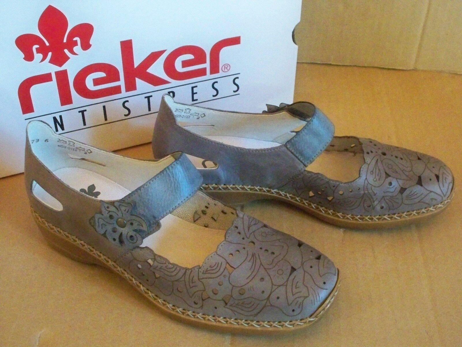 Rieker  ANTISTRESS Slipper/Trotteur 41358-12   blau-grau Gr 38