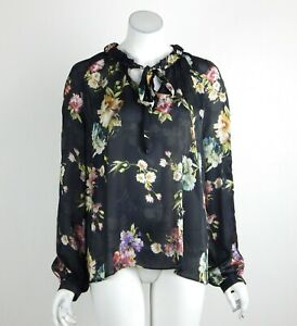 Joseph-Ribkoff-Top-Blouse-Sheer-Ruffle-Tie-String-at-Neck-Long-Sleeve-Size-8-New