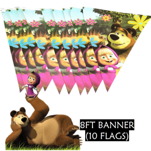 MASHA AND THE BEAR PARTY SUPPLIES CUPS PLATES NAPKINS BANNER TABLE COVER BALLOON