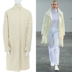 runway-HELMUT-LANG-Vintage-AW97-cream-bomber-collar-wool-coat-jacket-IT40-US2-S