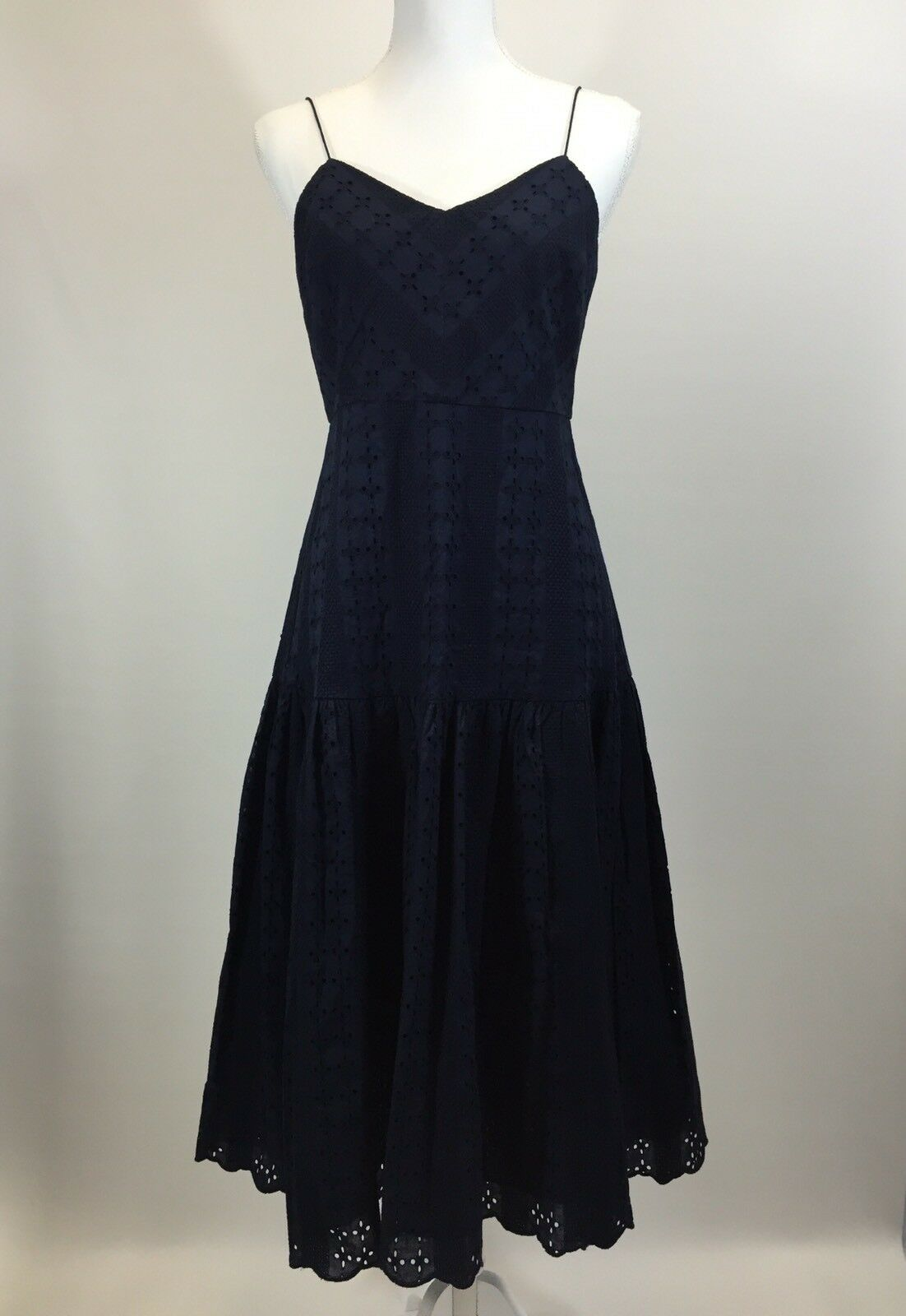 NEW JCrew  Tiered Spaghetti-Strap Midi Dress in Eyelet Size 4 Navy G3549