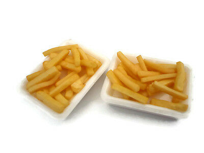 2 Set French Fries on White Tray Dollhouse Miniatures Bakery Fast Food