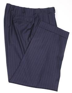 OXXFORD-Bespoke-Navy-Chalkstripe-Pleated-Long-Rise-Wool-Suit-Pants-36-x-27