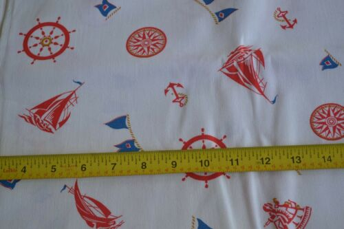 """By 1//2 Yd N1210 36/"""" Wide Vintage 1940's-60's Nautical Theme on White Poplin"""