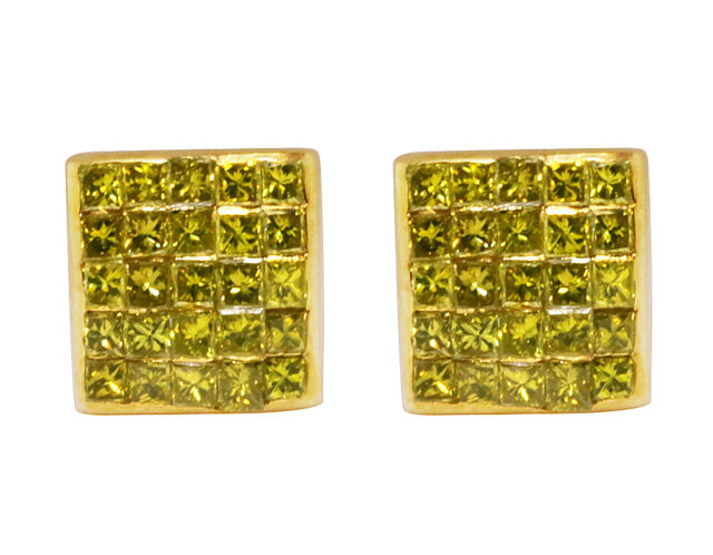 10k Yellow Gold Invisible Princess Real Canary Diamond Studs Earrings 0 66ct 7mm