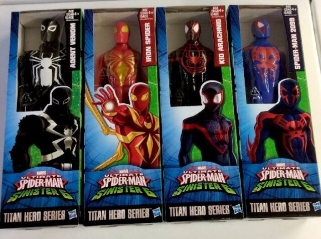 Lot of 4 Hasbro Marvel Ultimate Spiderman Titan Hero Series Set agent venom web