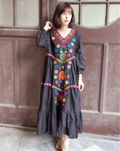 Vintage Dress Ethnic Mexican Womens Maxi Boho Ball Gown Embroidered Cotton Linen
