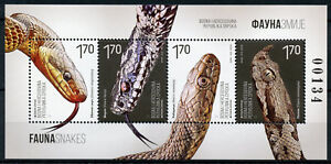 Bosnie-Herzegovine-2018-neuf-sans-charniere-faune-serpents-4-V-M-S-Reptiles-timbres
