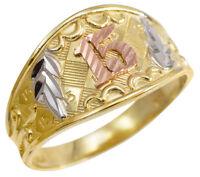 Tri-color Gold Diamond Cut Anillo De Oro  15 Años  Quinceañera Ring
