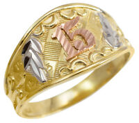 Tri-color Gold Diamond Cut Anillo De Oro  15 Años  Quinceañera Ring