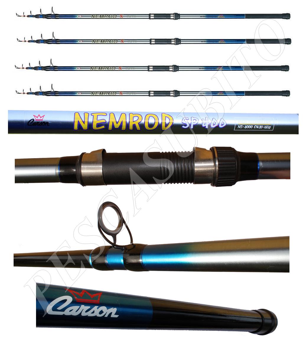 Kit 4 canne canne canne nemrod surfcasting telescopiche carbonio pesca mare spiaggia fondo 85b77a