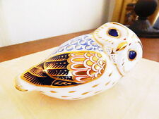 Royal Crown Derby OWL Figurine Figural Paperweight COBALT BLUE w/Stopper - NICE!