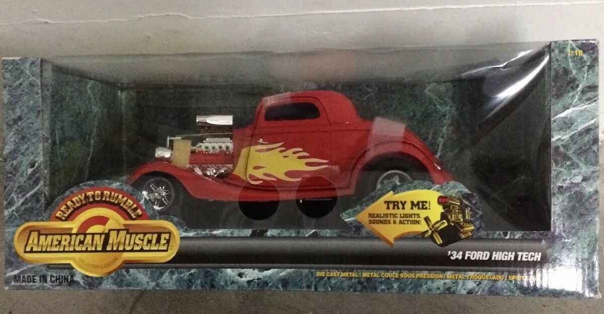 1 18 ERTL AMERICAN MUSCLE READY TO RUMBLE 1934 FORD HIGH TECH RED with FLAMES od