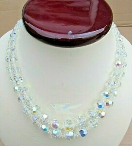 Vintage-Aurora-Borealis-2-Strand-Necklace-Graduated-Faceted-Beads-Good-4-Age