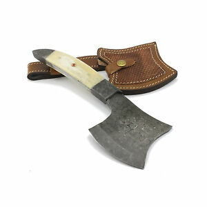 Handmade-Tomahawk-Axe-Damascus-Blade-Camel-Bone-Handle-Leather-Sheath
