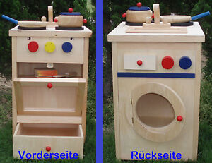 Children Wooden Play Kitchen Kochset Washing Machine New