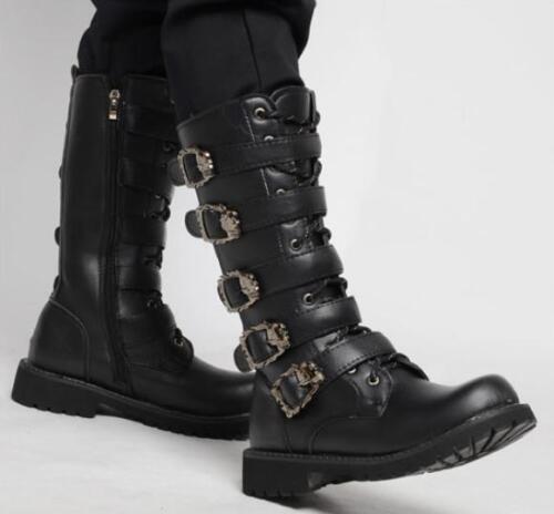 Bottes Casual Chaussures au en pour genou Strap hommes daim Moto Zip Toe Combat Buckle kluwOXPZiT