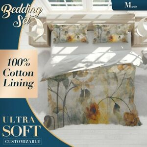withered Floral Flowers Grey Quilt Cover Double Bed Single Queen King Size