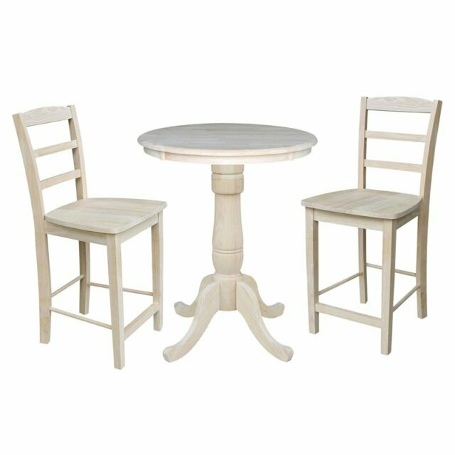 30 Round Pedestal Gathering Height Table With 2 Madrid Counter Stools