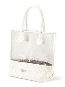 Deux Lux Handbag Mykonos Clear Tote Beach Bag In White Or