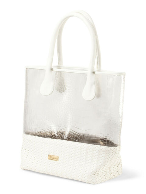 Deux Lux  Handbag Mykonos Clear Tote/Beach Bag in White or Coral-NWT-RP: $145