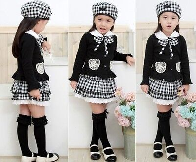 New 3 pcs Kids baby Girls clothing hat +Top+skirt Outfit & set cotton Clothes