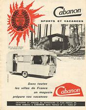 Publicité Advertising 1963  Cabanon sports et vacances tente auvent caravane
