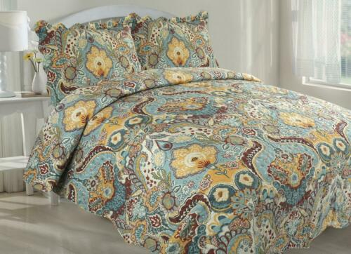 Victorian x3 Pièce Couvre-lit Floral Literie Patchwork Throw avec 2 Pillowshams