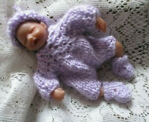 Doll-Clothes-Handmade-Lavender-3pc-Outfit-for-Artist-Sculpted-Ooak-Baby-4-034-to-5-034