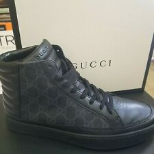 2c5b14679 Gucci Men's Supreme GG High Top Sneakers Trainers Logo 433717 7G Black 8  Mint