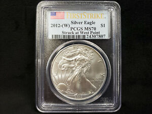 PCGS MS70 First Strike -Struck at West Point American Silver Eagle 2012-W