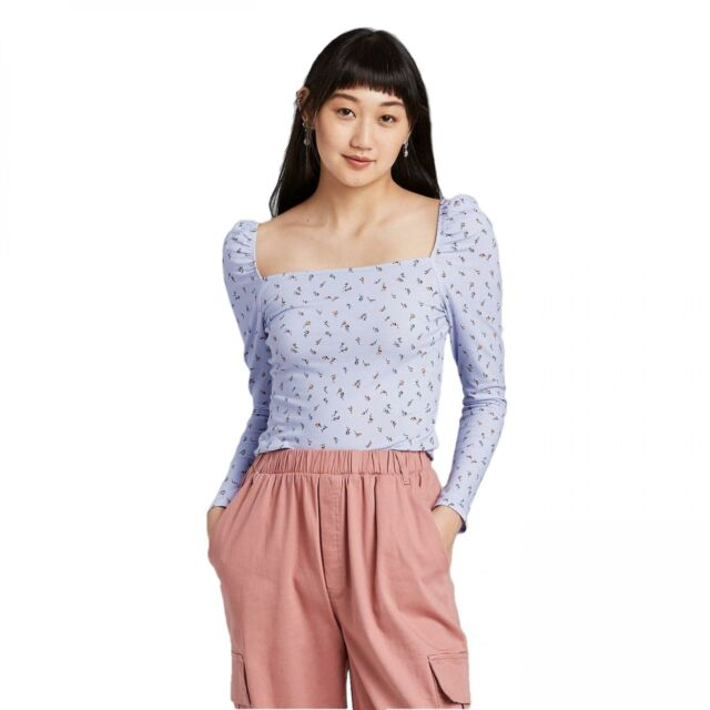 Women/'s Long Sleeve Square Neck T-Shirt Wild Fable Blue extra small xs