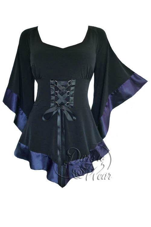 Dare to Wear Victorian Gothic Plus Größe Treasure Corset Top in Midnight