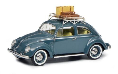 Schuco 02708-1//43 VW Escarabajo brezelkäfer con equipaje gris azul-mhi colección
