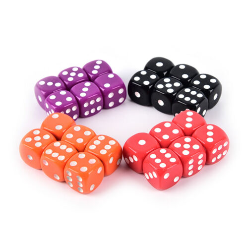 6Pcs Six Sided 16mm acrylic rounded fine dice for Playing Game 4 colors im Gesellschaftsspiele