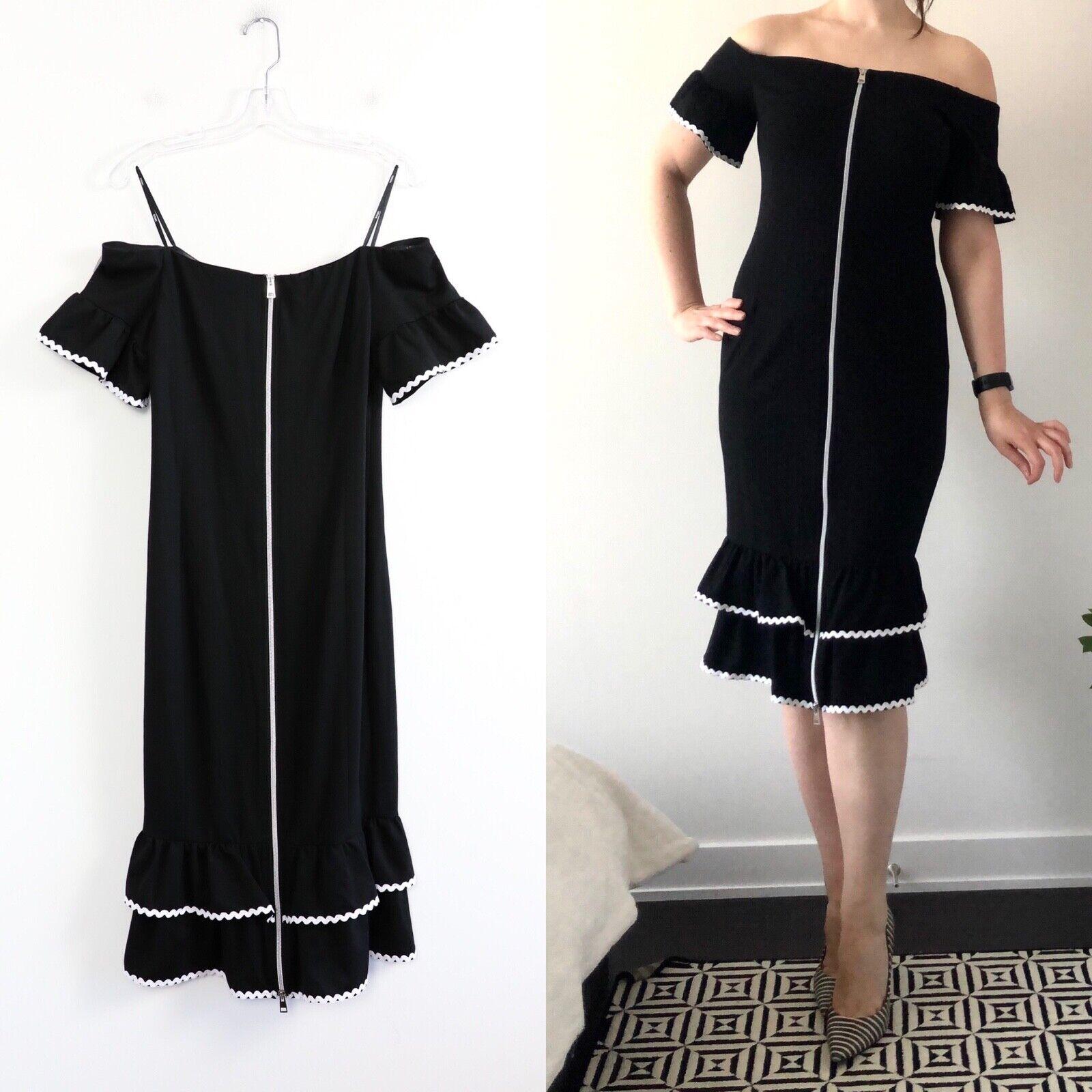 Tenax little black dress form fitting front zip 5… - image 1