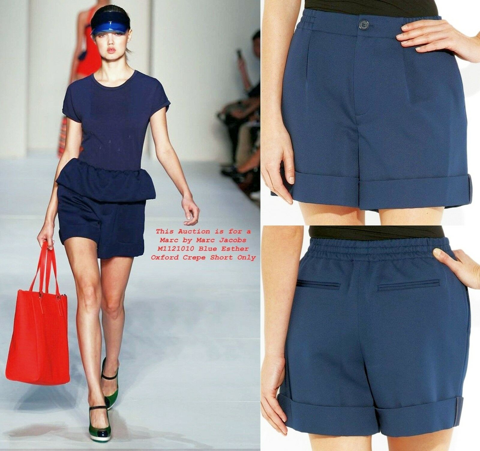 228 Marc By Marc Jacobs sz 0 (W 27  - 29 ) Navy Esther Oxford Crepe Shorts