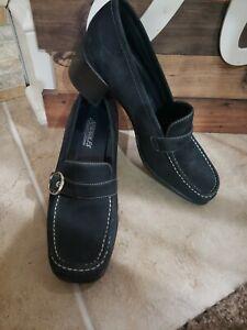 Womens-Aerosoles-Blue-Suede-Block-Heel-Shoes-Size-7
