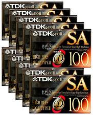 10x TDK SA 100 Audio Cassette Tape Super Avilyn High Resolution SA100 BIAS IECII