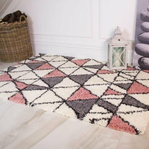Blush Milennial Pink Gray Shaggy Rugs Modern Triangles Geometric Cheap Area Shag