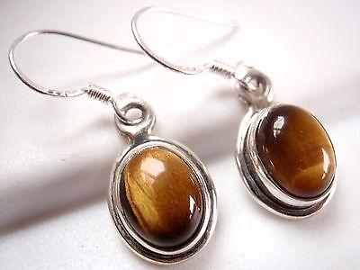 Small Tiger Eye Ellipse Earrings 925 Sterling Silver Dangle Drop Oval New