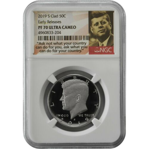 2019-S NGC PF70 Early Releases Proof Clad Kennedy Half Dollar Coin