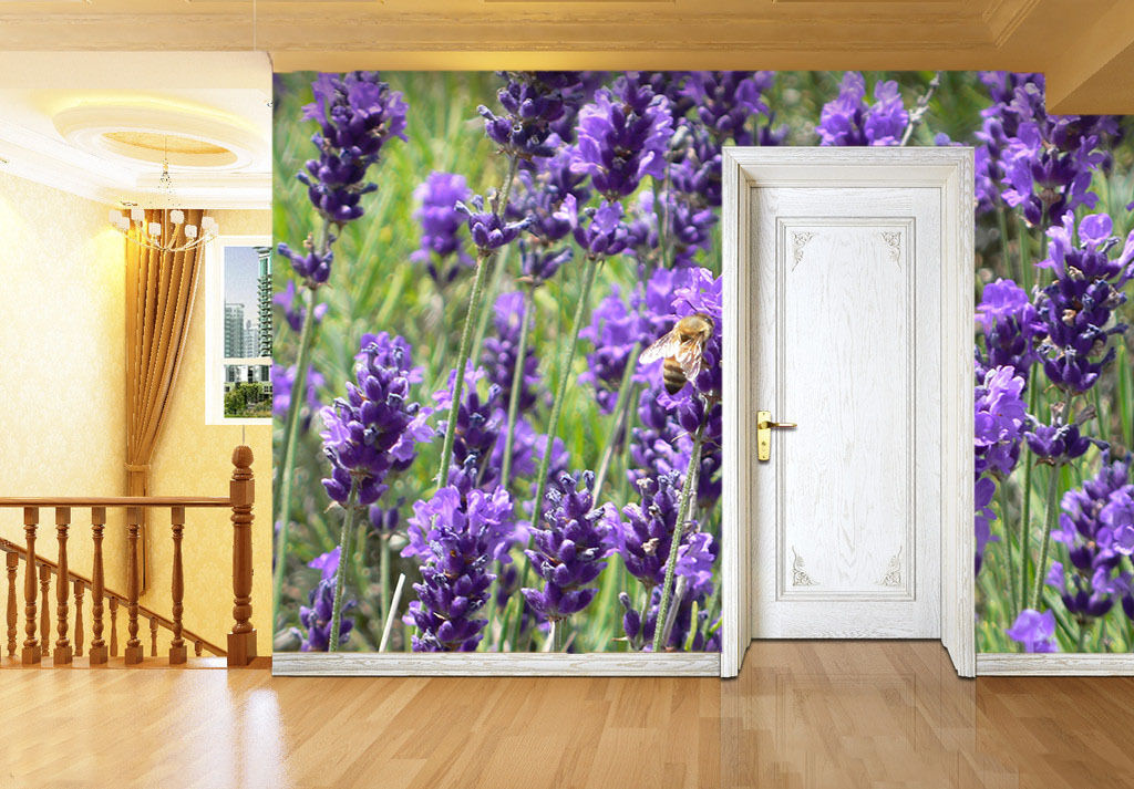 3D lila Flowers Bee Paper Wall Print Wall Decal Wall Deco Indoor Murals