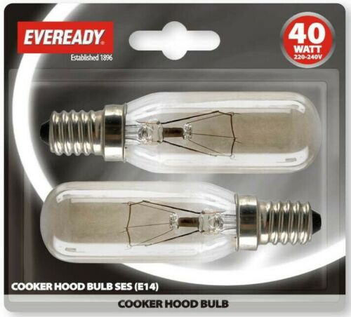 2x Eveready Hotte Appliance Lampe ampoule 40 W 240 V ses Base E14