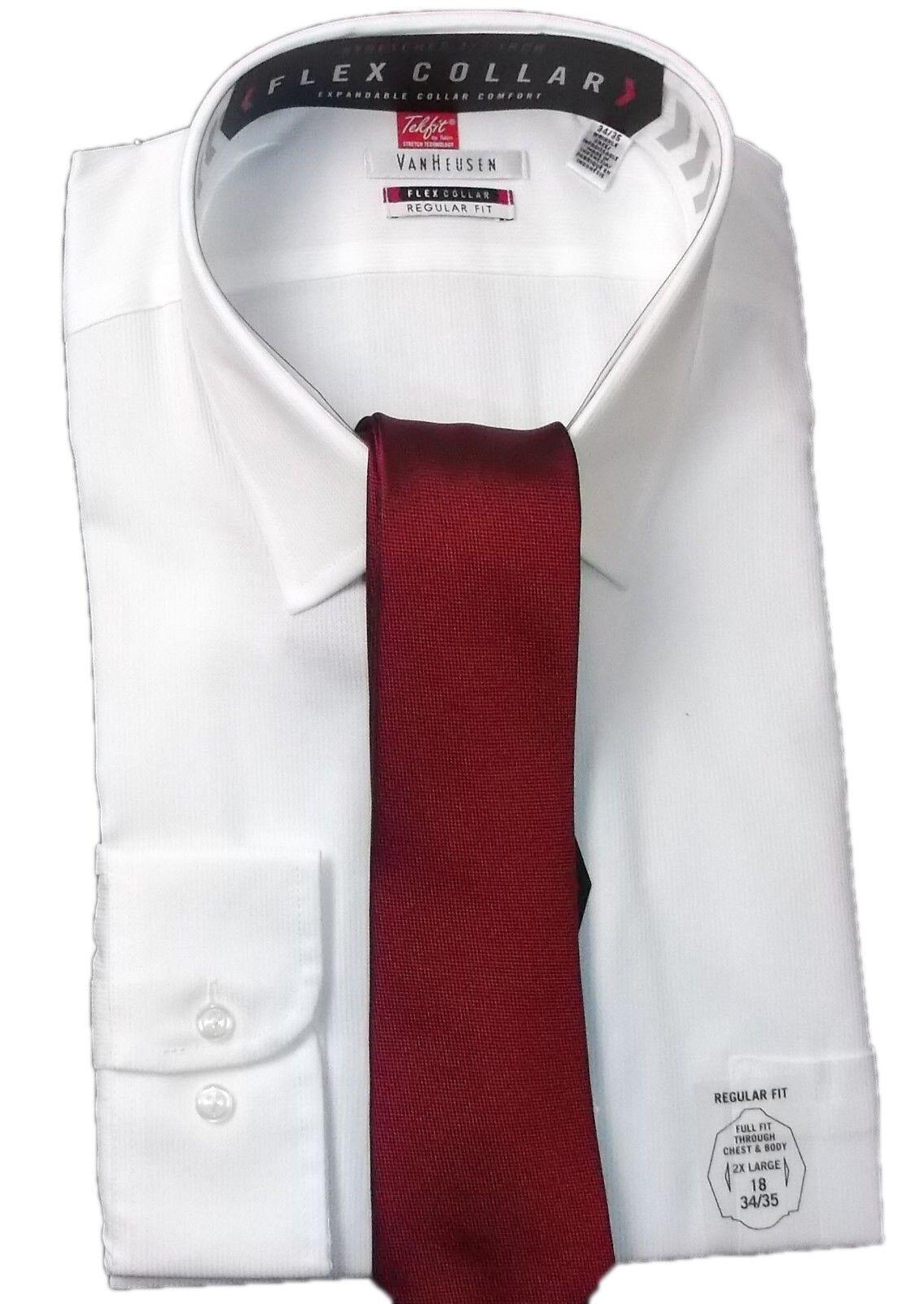 Van Heusen White Shirt & Silk Tie Set Men's Size 18 Regular Fit 34   35 New