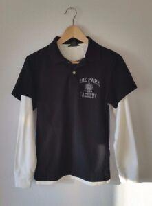H-amp-M-Poloshirt-Gr-S-Langarm-L-O-G-G-schwarz-weiss-College-Print